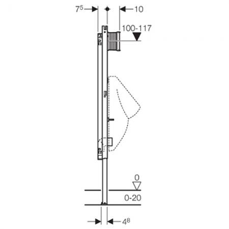 geberit duofix element f r urinal 130cm universal f r. Black Bedroom Furniture Sets. Home Design Ideas