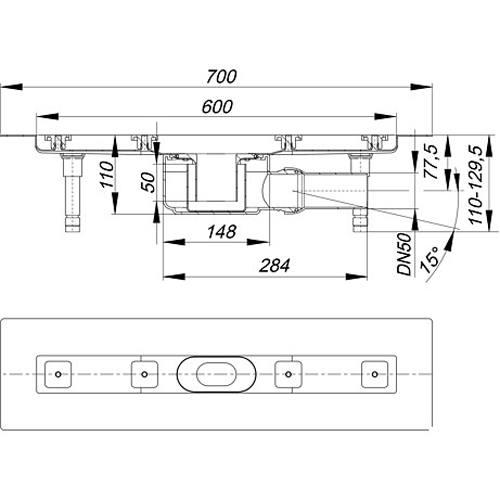 dallmer duschrinne ceraline f 600mm dn50. Black Bedroom Furniture Sets. Home Design Ideas