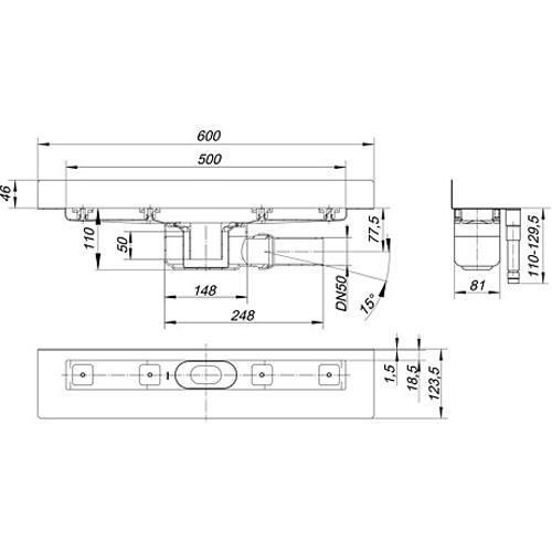 dallmer duschrinne ceraline w 500mm dn50. Black Bedroom Furniture Sets. Home Design Ideas