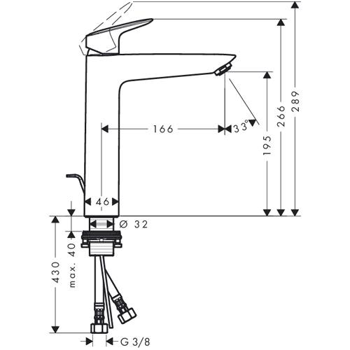 hansgrohe logis einhebel waschtischmischer 190 mit. Black Bedroom Furniture Sets. Home Design Ideas