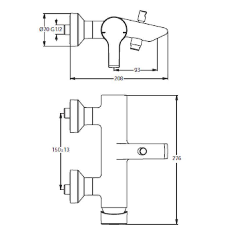 ideal standard active einhebel badearmatur ap dn15. Black Bedroom Furniture Sets. Home Design Ideas