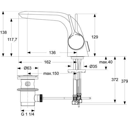 ideal standard melange einhebel waschtischarmatur dn15. Black Bedroom Furniture Sets. Home Design Ideas