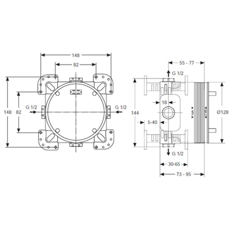 ideal standard unterputz bausatz 1 easy box f r einhebelmischer. Black Bedroom Furniture Sets. Home Design Ideas