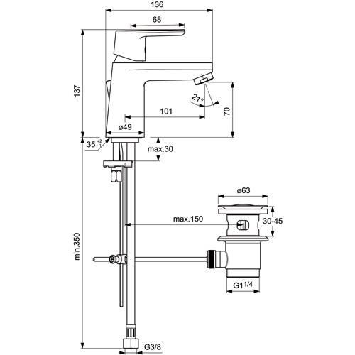 ideal standard vito einhebel waschtischarmatur dn15. Black Bedroom Furniture Sets. Home Design Ideas
