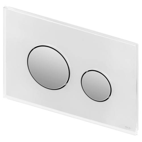tece teceloop wc bet tigungsplatte zweimengentechnik glas wei tasten chrom gl nzend. Black Bedroom Furniture Sets. Home Design Ideas