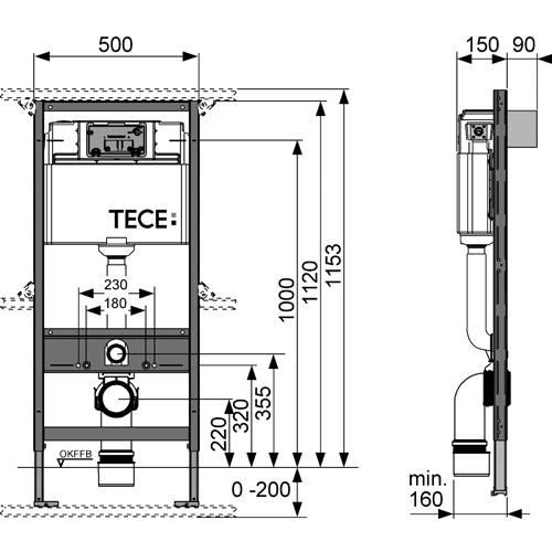 tece teceprofil wc modul mit tece sp lkasten 1120mm. Black Bedroom Furniture Sets. Home Design Ideas